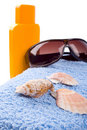 Free Towel, Shells, Sunglasses And Lotion Stock Photos - 8624803