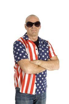 Free Senior Man Is Wearing A Patriot Shirt Stock Photos - 8620913