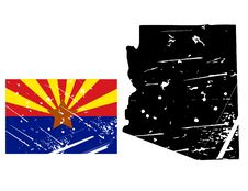 Free Grunge Arizona Map With Flag Stock Photography - 8622202
