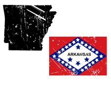 Free Grunge Arkansas Map With Flag Royalty Free Stock Photography - 8622207