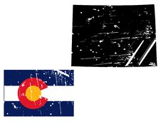 Free Grunge Colorado Map With Flag Royalty Free Stock Images - 8622209