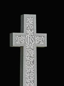 Granite Cross On Black Royalty Free Stock Photo