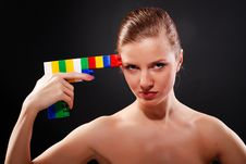 Woman With Toy Gun Stock Photo