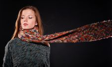 Woman In Wool Scarf Royalty Free Stock Photo