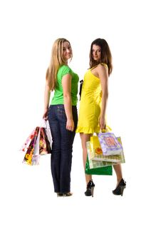 Free Two Pretty Women And Bags Stock Photography - 8622462