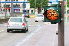 Free Bicycle Roadsign On The Street Stock Image - 8622651