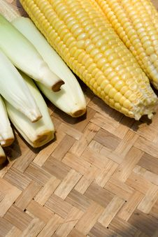 Corn On Bamboo Tray Stock Images