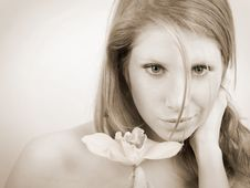 Free Girl With Orchid Stock Image - 8623451
