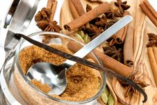 Cinnamon Sticks,Cardamom,vanilla Bean And Star Ani Stock Photos