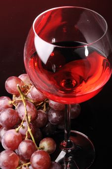 Grapes And Glass Of Wine Stock Photography