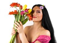 Beautiful Spring Woman With Flowers Royalty Free Stock Photos