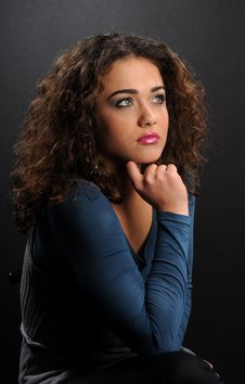 Free Beautiful Model With Curly Hair Royalty Free Stock Photo - 8624295