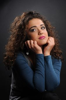 Free Beautiful Model With Curly Hair Royalty Free Stock Photos - 8624488