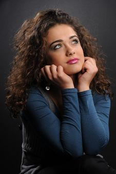 Free Beautiful Model With Curly Hair Stock Image - 8624511