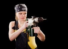 Free Severe Young Woman With A Drill Stock Image - 8625511