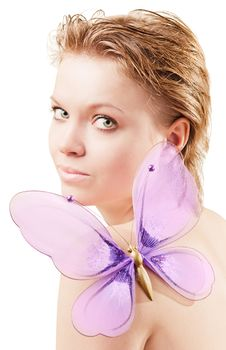 Pretty Girl With A Butterfly Stock Images