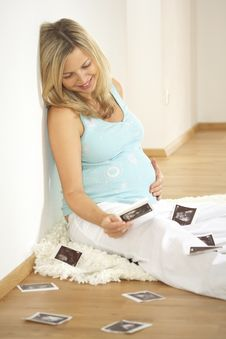 Pregnant Woman With Mother Ultrasound Pictures Stock Photo