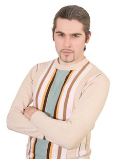 Young Serious Handsome Male In Sweater Isolated Stock Photo