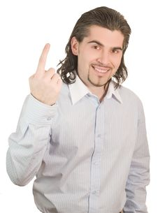 Young Handsome Guy Counts On His Fingers One Stock Image