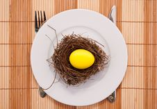 Free Golden Egg In A Nest Served On A Plate Royalty Free Stock Photography - 8628747