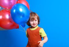 Free Little Girl Holding Balloons Royalty Free Stock Photo - 8629295