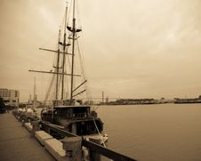 Wooden Sailing Ship In Port Royalty Free Stock Photos