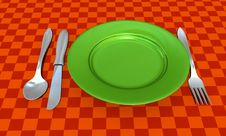 Free Knife, Fork, Spoon And Plate With Table Coth Stock Images - 8629674