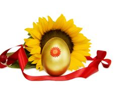 Easter Golden Egg And Sunflower With C/path