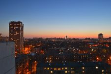 Free Magicness And Warm Springtime Evening In Korolev-city After Sundown On The Roof Stock Images - 86217714