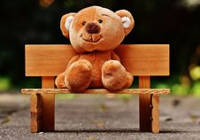 Free Cute Teddy Bear Sat On A Bench Royalty Free Stock Photography - 86226817