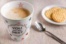 Free Cup Of Coffee On Table With Biscuits Stock Images - 86245954
