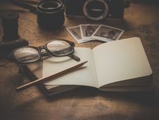 Free Notebook With Glasses Stock Photo - 86246860