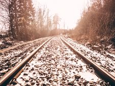 Free Railroad Tracks Against Sky During Winter Royalty Free Stock Images - 86252579