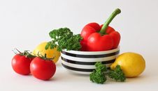 Free Red Tomato Green Broccoli Red Bell Pepper And Yellow Lime Stock Photos - 86254253