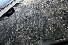 Free Aerial View Of City From Plane Stock Photography - 86283692