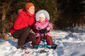 Free Mother And Daughter With Snow Scooter Royalty Free Stock Images - 8631559