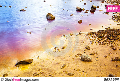 Colorful lake shore Stock Photo