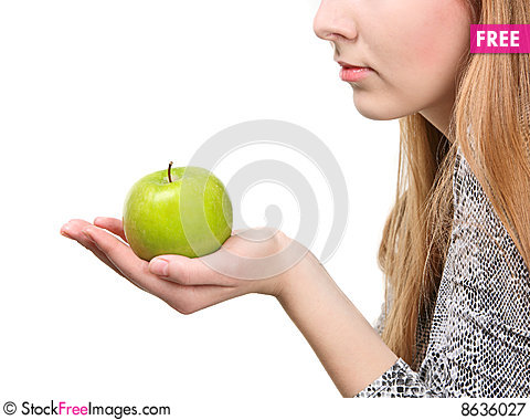 Free Woman Holding Fresh Green Apple Royalty Free Stock Photography - 8636027