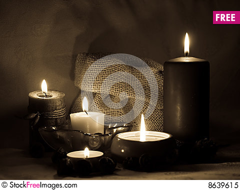 Aromatic candles _sepia Stock Photo