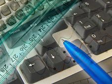 Free Graphic, Pen, Ruler And Keyboard, Collage Royalty Free Stock Photography - 8630167