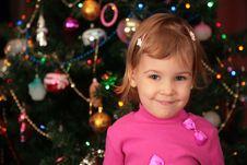 Christmas Fir And Little Girl Royalty Free Stock Image