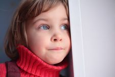 Little Thoughtful Girl Stock Image
