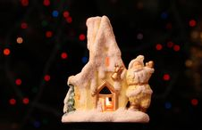 Toy Small House With Santa Claus Stock Photos