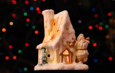Toy Small House With Santa Claus Stock Photo