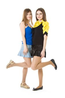 Free Two Girls With Raised Leg Stock Photo - 8633410