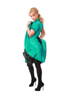 Free Sexy Blonde In Green Dress Royalty Free Stock Photos - 8633578