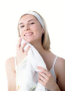Free Girl With White Towel Royalty Free Stock Images - 8634439