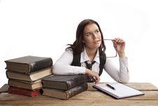 Business Woman Thinking Stock Image