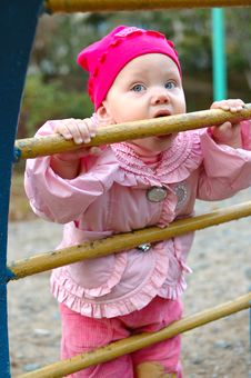 Free Pretty Little Girl On Child S Playground. Royalty Free Stock Image - 8637236