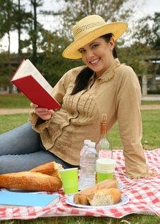 Free Beautiful Woman Reading Book Outdoor Stock Photo - 8638180